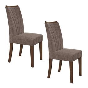 Conjunto 2 Cadeiras Apogeu Móveis Lopas Imbuia/velvet Hdwt