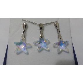 Conjunto Estrela Do Mar Cristal Swarovski Boreal 1,6 Cm