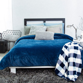 Cobertor Invernal Matrimonial Microfibra Alaska Azul Vianney