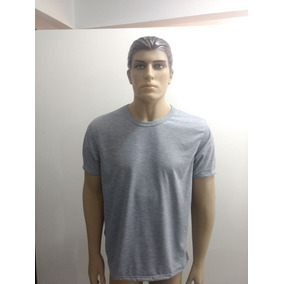 Camiseta Cinza Mescla Lisa Sublimação - Camisetas e Blusas no ... 6328e9b09de