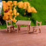 Kit Mini Mesa Cadeiras Banco Miniaturas Terrários Jardim 3pç