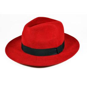 7804887a8c4ab Chapéu Fedora Vermelho - Aba Média (vermelho