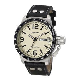 Relógio Magnum Casual Ma31542y Masculino Prata E Fundo Bege