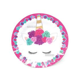 10 Platos Unicornio Rosa Fiesta Cumpleaños E