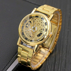 Relógio Dourado Luxuoso Esqueleto Casual Barato Social Lindo