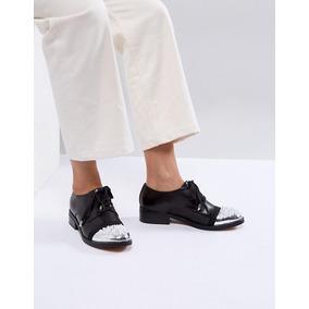 Zapato Oxford Asos White Camelia Cuero Negro Plata Envio Gra 7c297afd73ad