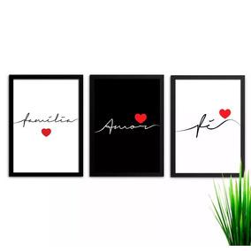 63c2601ff Conjunto De Quadros Decorativos Paz Amor Fé no Mercado Livre Brasil