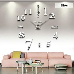 Reloj Real Decorativo De Pared Apariencia Cristal Espejo 3 D