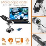 Microscopio Digital Hd Con Base Zoom Óptico 1000x Usb 8 Leds