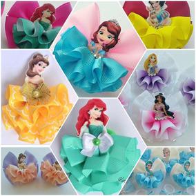 Princesas Disney Moños Niña 5 Pzs Pinza Cabello