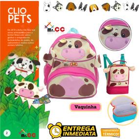 Kit Mochil+lancheira Escolar Infantil Bichinho Zoo-vaquinha
