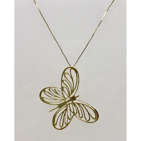 Glitter Joias - Colar Pingente Borboleta Em Ouro 18k