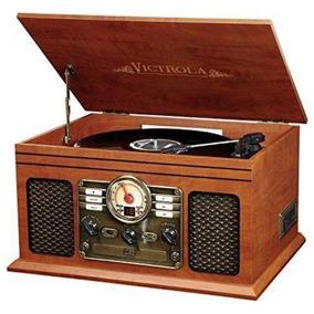 Tocadiscos Madera Clásica 6-en-1 Bluetooth Cd Aux Radio