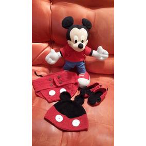 Conjunto Mickey Mouse,cubre Pañal, Gorro Y Zapatitos