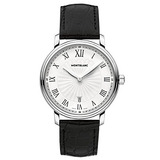 Montblanc Tradition Date White Guilloche Dial Black Leather