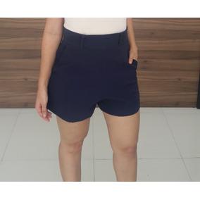 Shorts Cintura Alta Feminino Bolso Lateral Ziper Forro