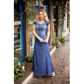 Vestidos Moda Evangélica Jeans Longo Alta Qualidade 2228