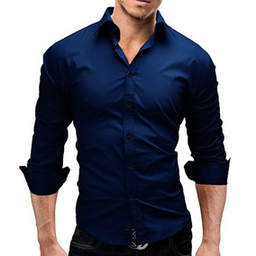Camisa Social Azul Petroleo Escuro Masculina Slim Fit Lisa