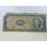 Billete Antiguo De Costa Rica, 10 Colones 1969, Rema.