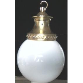Antiguo Plafón Ingles De Opalina Y Bronce - Todo Original