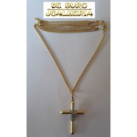 Corrente Ouro 18k Masculina Groumet 7g Com Crucifixo De Burg. R  1.800 a5b82db2a1