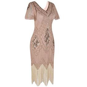 Vestido Gatsby Fiesta Disfraz 1920s Rosa Dorado Prettyguide