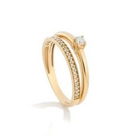 Solitário De Diamante Usado - Anel Solitário de Ouro Feminino, Usado ... 3d412431a6