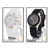 Reloj Dama Geneva Clásico Blanco, Negro Correa Silicona