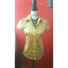 Blusa Zara Trf Color Oro Satin Usada Talla Mediana