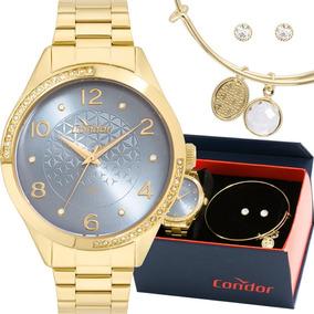 Kit Relógio Condor Feminino Pulseira E Brincos Co2035kwa/k4a