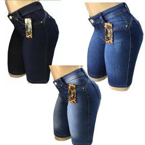 Kit 3 Bermudas Jeans Feminino - Liquidação