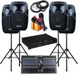 Combo Audio 12 Cuotas Potencia Consola Bafles 480w Pies Mic