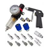Kit Filtro Ar Para Pintura Regulador Pressão 1/4 Compressor