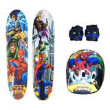 Skate + Kit Segurança Homem Aranha + Bolsa Para Transporte