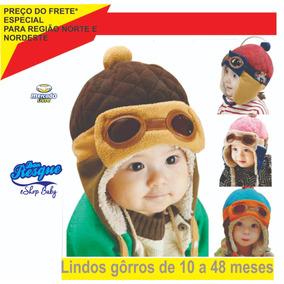 Toca Chapéu Marrom Gorro Infantil Aviador(a) 10 A 48 Meses d31c4cc21a6