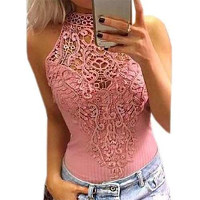 Body Rosa De Renda Elástico Alta Qualidade