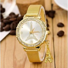 Relógio Feminino Dourado Torre Eiffel
