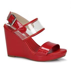 2adbf7f25 Sandalia Anabela Vermelha Feminino Moleca - Sapatos no Mercado Livre ...