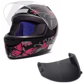 Capacete Moto Ebf Spark Feminino Borboleta Preto E Rosa