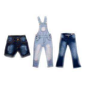 Kit Jardineira + Calça + Bermuda Jeans Meninas Tam 4-6-8