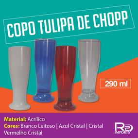 Kit 100 Copos De Chopp Tulipas Cerveja Acrílico Plástico d6e3c3229e23d