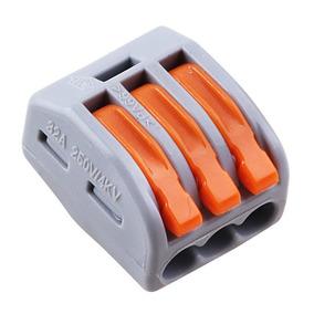 Conector Wago Borne Emenda Para 3 Fios - 50 Unidades 222-413