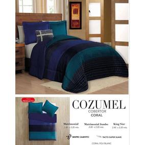 Cobertor Con Borrega King Size Grueso, Cozumel, Envío Gratis