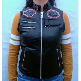 Chaleco De Piel Para Dama Tipo Harley Davidson! S M L Xl Xxl 33379477be1d