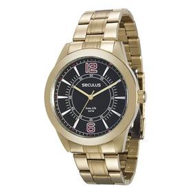Relógio Masculino Dourado Barato Seculus 28864gpsvda3