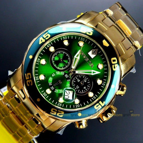 Relógio Invicta Pro Diver 0075 Verde Original Banhado A Ouro