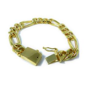 Gruesa Esclava Figaro 3 X 1 Oro Macizo 14k 50grs. Solid Gold