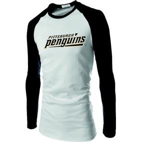 09133d570f85b Camisa Camiseta Raglan Pittsburgh Penguins Manga Longa