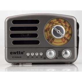 Retro Radio Vintage Com Bluetooth Am Fm Bateria Interna