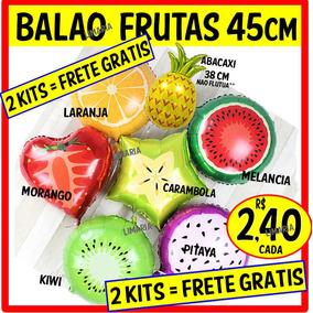 25 Balao Metalizado Fruta Melancia Morango Laranja Festa